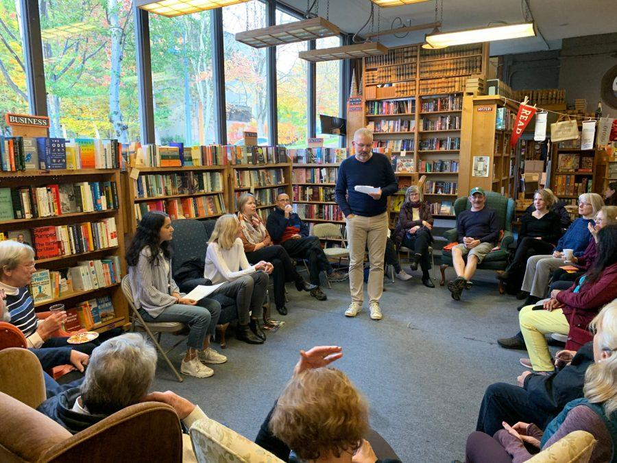 Victor Raisys, the owner of Island Books, introduces the event. Photo courtesy Bharat Shyam.