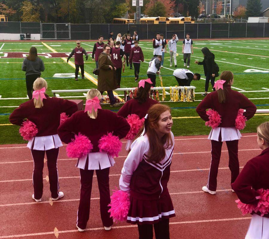 As part of Unity Week, The Sparkles cheer team appeared at the unified flag football game.