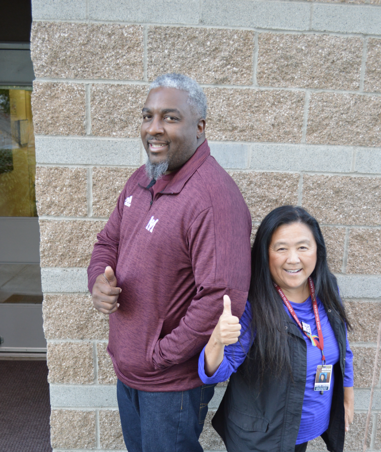 While the classroom staff lacks ethnic diversity, two of the four MIHS Administrators are people of color. Puckett indentifies as Asian and Carisle identifies as African American. Photo by Ellie Gottesman